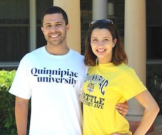 Students Joe Huberman and Victoria Kozar pose outside their new home, Masonicare at Ashlar Village.
