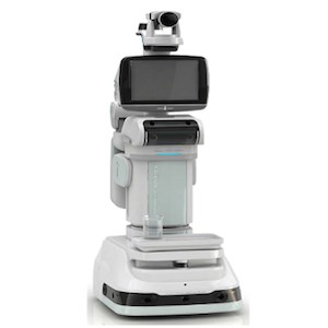 The HomeMate robot is about four feet tall and has a robotic arm, web camera and LCD screen. It can play audio and be instructed to move via remote control. (Photo courtesy of S. Shyam Sundar, Ph.D.)