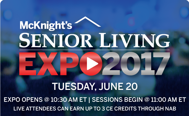 Earn three CE credits from your desk at McKnight's Senior Living's Expo 2017