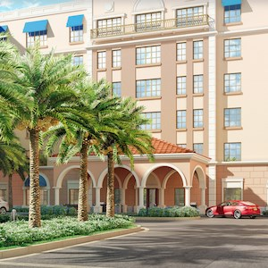 This artist's rendering depicts the porte cochere entry of Windsor at Celebration.