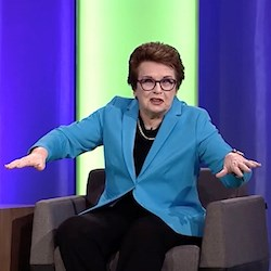 "Billie Jean King makes a point during a ""NIC Talk"" at the 2016 National Investment Center for Seniors Housing & Care Fall Conference."