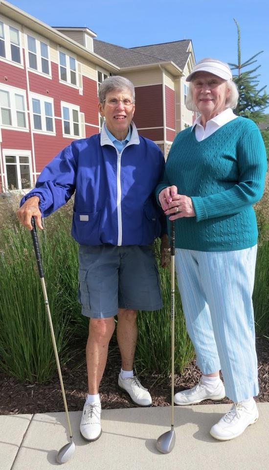 Rainy Abbott and Joyce Wong enjoy golfing together.