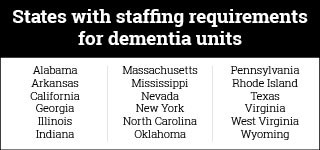 States with staffing requirements for dementia units