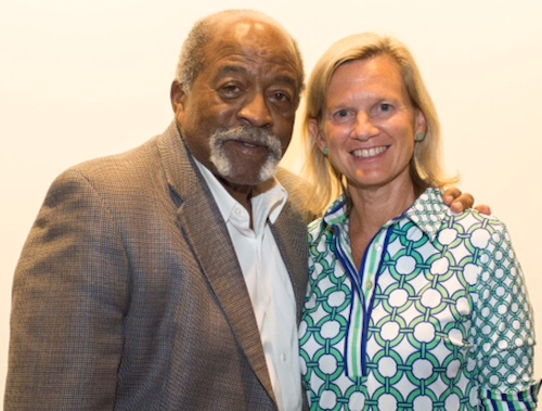 Former Red Sox pitcher Luis Tiant and Carolyn Blanks, executive director of the foundation.