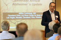 Jeffrey Cummings, M.D., speaks to attendees of Silverado's annual conference on brain health.
