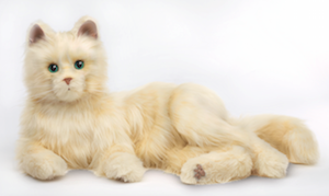 Hasbro's Joy for All Companion Pet Cat comes in three colors. Pictured is creamy white.
