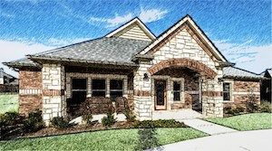 An exterior rendering of Mustang Creek Estates of Burleson (courtesy of Creative Architects).