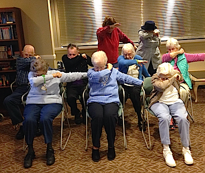 "Residents of Piedmont Crossing do the ""Panther Dab."""