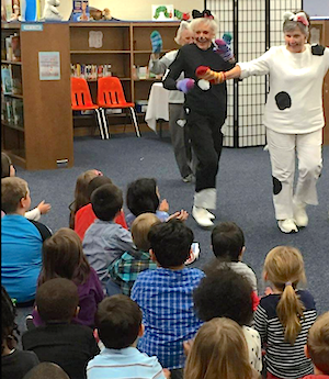 Residents of Atlantic Shores entertain Birdneck Elementary School students.