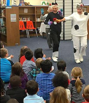 Residents of Atlantic Shores entertain Birdneck Elementary School students.