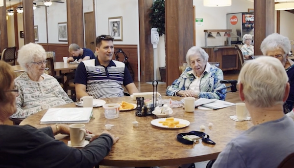 Mike Eidsaune, center, explains to Brookdale Kettering residents what he hopes to accomplish.