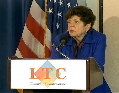 Alice Rivlin, Ph.D., addresses attendees at the Feb. 22 LTCFC press conference.