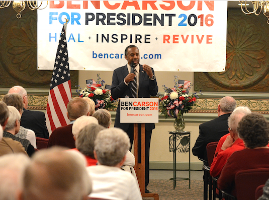 Ben Carson speaks at Park Pointe Village in Rock Hill, SC, on Feb. 19.