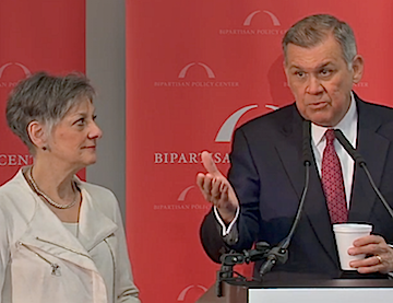 Former Rep. Allyson Schwartz and Sen. Mel Martinez answer questions at the BPC event.