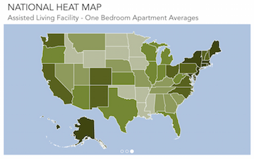 "This national ""heat map"" shows average costs for one-bedroom apartments. (whatcarecosts.com)."