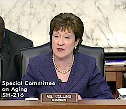 Sen. Susan Collins delivers her opening remarks April 27.