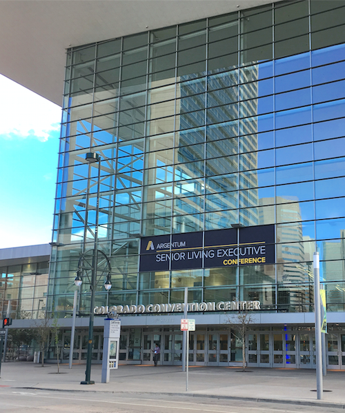 The Colorado Convention Center beckons attendees of Argentum's Senior Living Executive Conference.