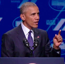 President Barack Obama makes a point at the United State of Women Summit on June 14.
