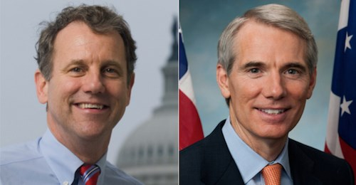 Sen. Sherrod Brown (D-OH), left, and Sen. Rob Portman (R-OH).