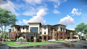 An artist's rendering depicts Heartis Village Orland Park, being developed by Caddis.