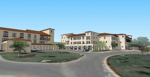 An artist's rendering of the exterior expansion of GreenRidge at Buckner Villas.