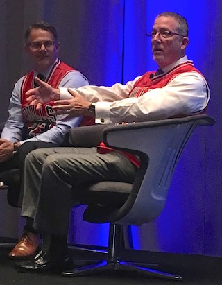 Daniel Ogus, right, EVP and COO of Cornerstone Affiliates, discusses catering operations during a session at the NIC fall conference.