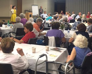 Residents of Orchard Cove participate in an event focusing on the 2016 election.