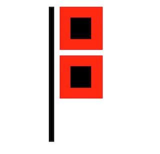 Hurricane warning display flag symbol. (McKnight's Senior Living graphic)