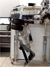 A prototype of the lower-limb exoskeleton being developed at Beihang University in Beijing, China.