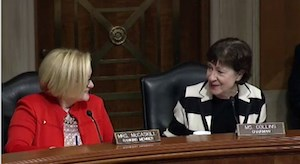 Sen. Susan Collins (R-ME), right, compliments Sen. Claire McCaskill (D-MO) at the beginning of a Nov. 30 hearing of the Senate Special Committee on Aging.