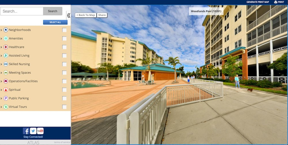 Shell Point's interactive map includes 360-degree panorama images.