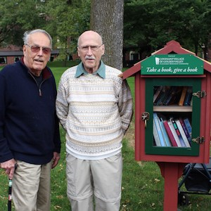 Covenant Village of Golden Valley residents Emery Erickson and Dick Davideit built the library.