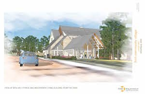 This artist's rendering of First Community Village shows how the community's fitness center and spa are positioned near the front entrance. (Image courtesy of three: living architecture)