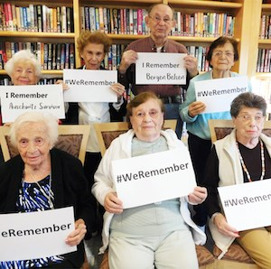 Residents of Gurwin Jewish-Fay J. Lindner Residences participate in the #WeRemember campaign.