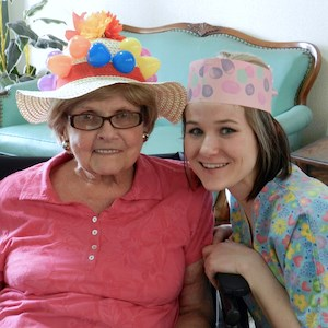 Saint Mary's resident Donna Waskiewicz, left, with Abbey Mihlak, CNA.