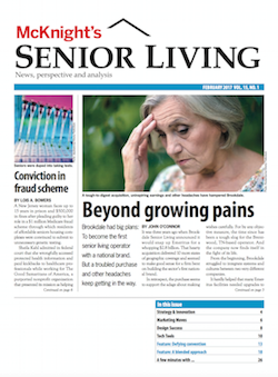 The February 2016 print edition of McKnight's Senior Living was the brand's entry in the Design - Publication Overall category in the Hermes Creative Awards for 2017.
