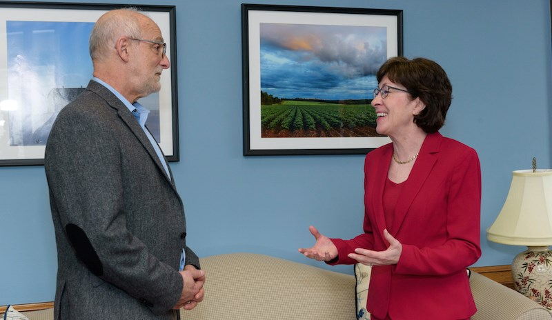 Lenard W. Kaye, DSW, Ph.D., of the University of Maine speaks with Sen. Susan Collins (R-ME), chairwoman of the Senate Special Committee on Aging.