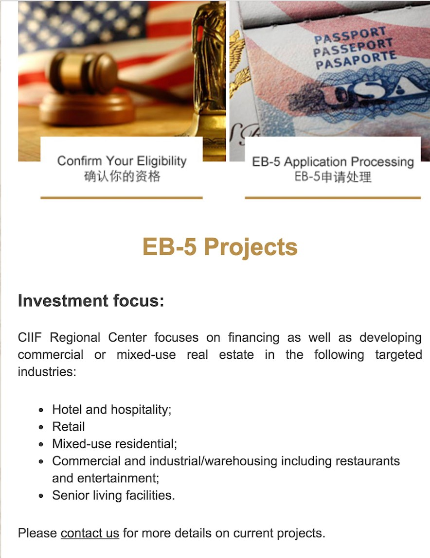 CIIF's website said its EB-5 projects focused on financing and developing real estate projects including senior living facilities, as this image captured April 5 by McKnight's Senior Living shows.