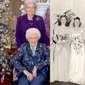 Hazel Arnold and Violet Casto now and then.