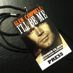 """A press pass from the 2014 screening of """"Glen Campbell: I'll Be Me"""" at the 2014 LeadingAge meeting."""
