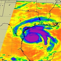 Hurricane Harvey as seen Aug. 25 by an infrared instrument on a NASA satellite. (Photo: NASA/JPL-Caltech)