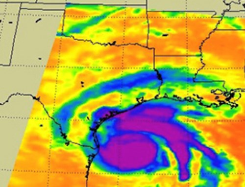 Hurricane Harvey as seen Friday by an infrared instrument on a NASA satellite. (Photo: NASA/JPL-Caltech)