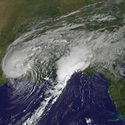 A National Oceanic and Atmospheric Administration satellite captures Tropical Storm Harvey Aug. 30 hours after it makes landfall again, just west of Cameron, LA. (Photo: NASA/NOAA GOES Project)