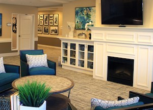 The A Knew Day living room at Pathway to Living's Aspired Living of Westmont will be a setting for Spark of Life programming.