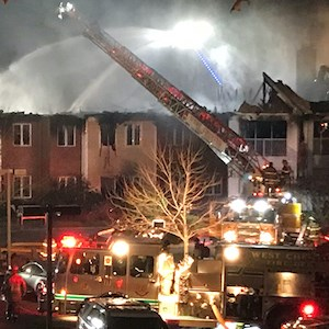 The five-alarm fire at Barclay Friends in West Chester, PA, caused extensive damage. (Photo: Kendal Corp.)