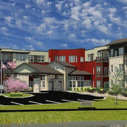 An artist's rendering depicts Hamilton House, which will be a $23 million, 110-unit independent living, assisted living and memory care campus in Cedarburg, WI.