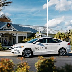 A Voyage taxi awaits a passenger in The Villages, Florida. (Luke Beard, Voyage)