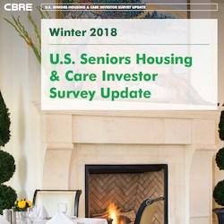 "Cover detail from CBRE's Winter 2018 ""U.S. Seniors Housing & Care Investor Survey Update."""