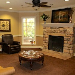 The fireplace lounge at the Alto Senior Living community in the Buckhead neighborhood of Atlanta.