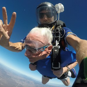 Remington Club resident Joel Halpern celebrates his 95th birthday by skydiving.